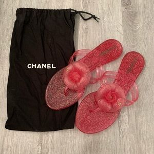 Chanel Pink GLITTER Camellia Sandals Flats Shoes